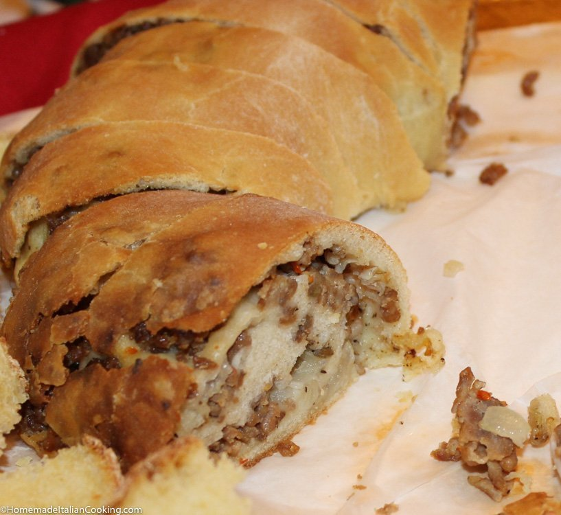 this is the best sausage stuffed homemade bread you will find we always make two loaves so we can eat one right out of the oven while it is warm