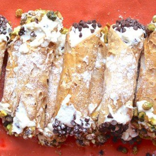 Sicilian Cannoli with Chocolate Chips and Pistachios