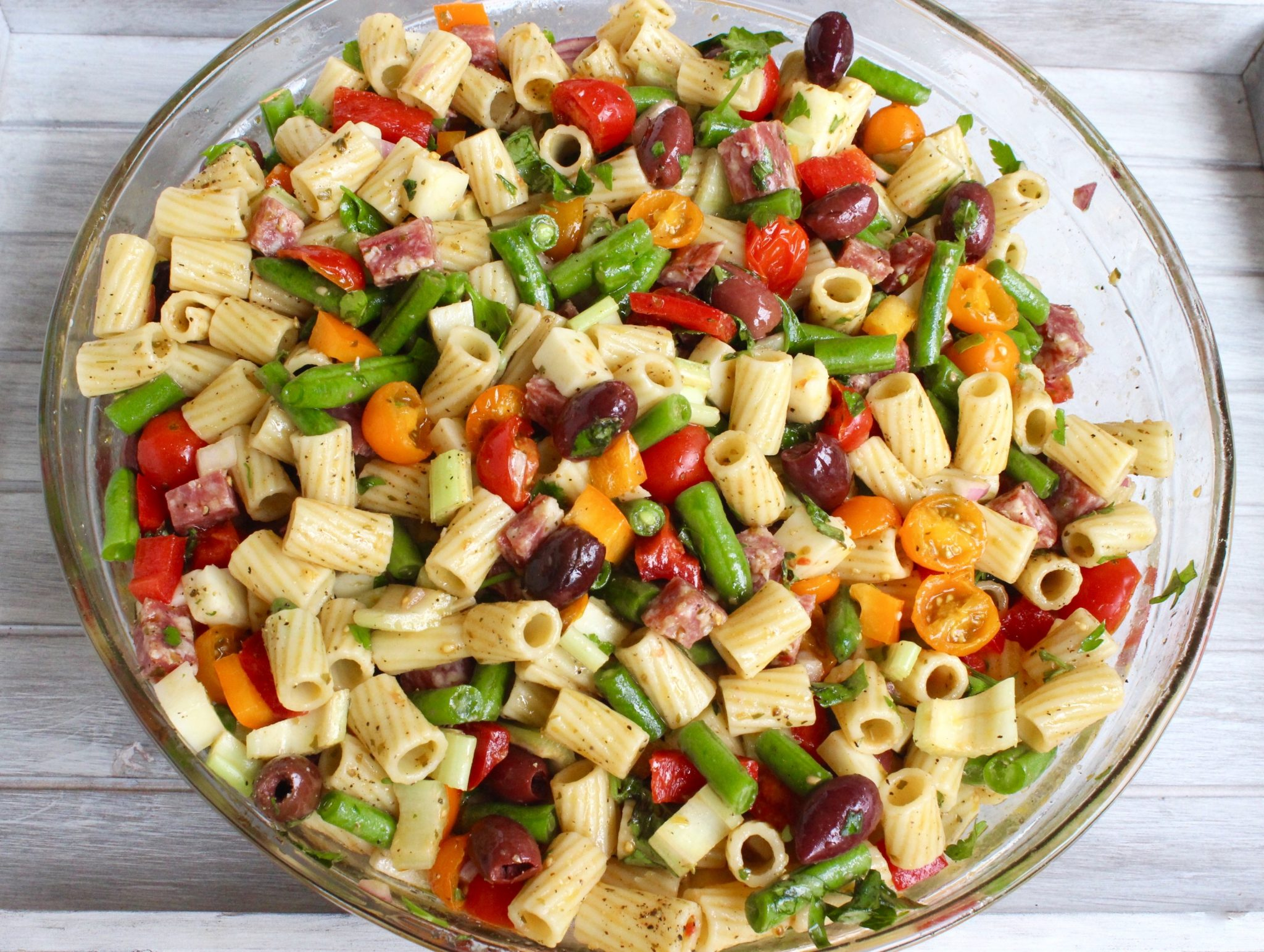 Pasta Salad Is A Great Family Party Dish This Recipe Uses A Red Wine Vinegar And Olive Oil Dressing And Therefore Will Keep Well On A Buffet Table Or