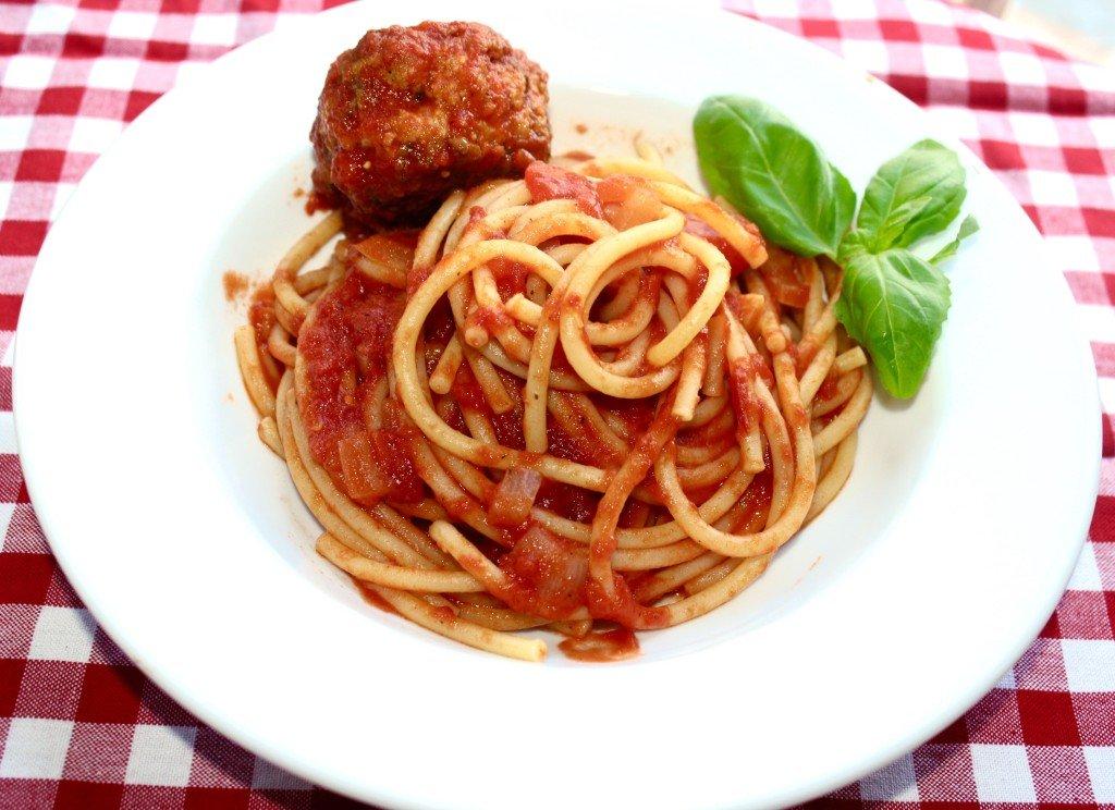 Marinara Bucatini and Chicken Pecorino Meatball