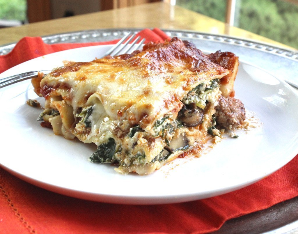 Classic lasagna on plate