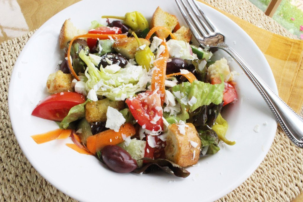 classic italian salad with red wine vinegar olive oil