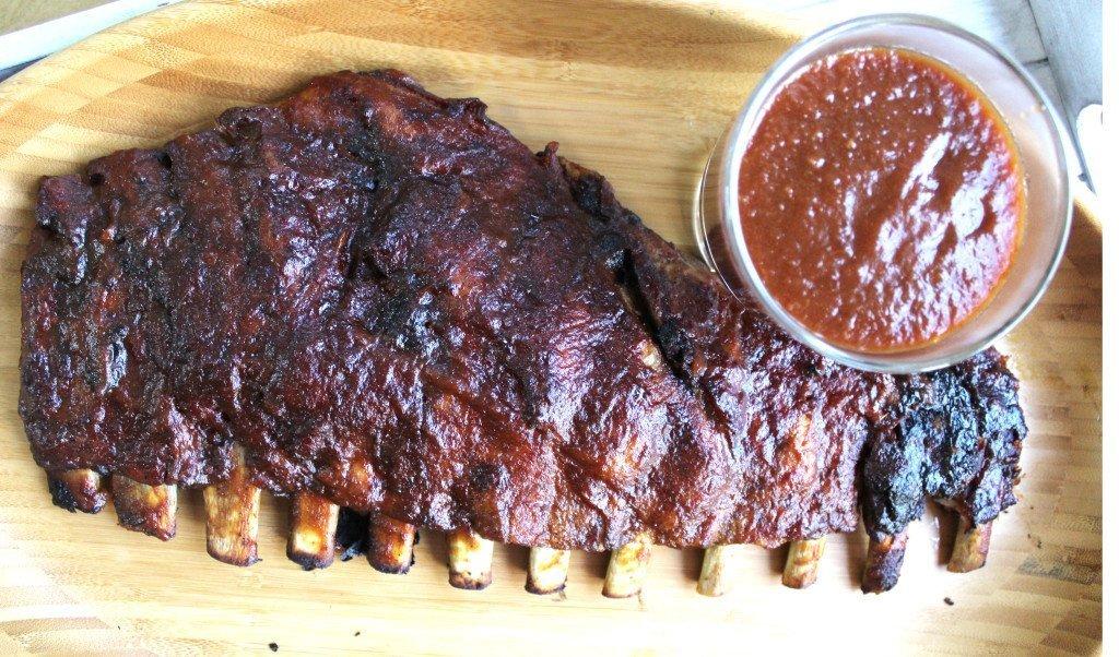 Spare ribs with Peach Rum BBQ Sauce