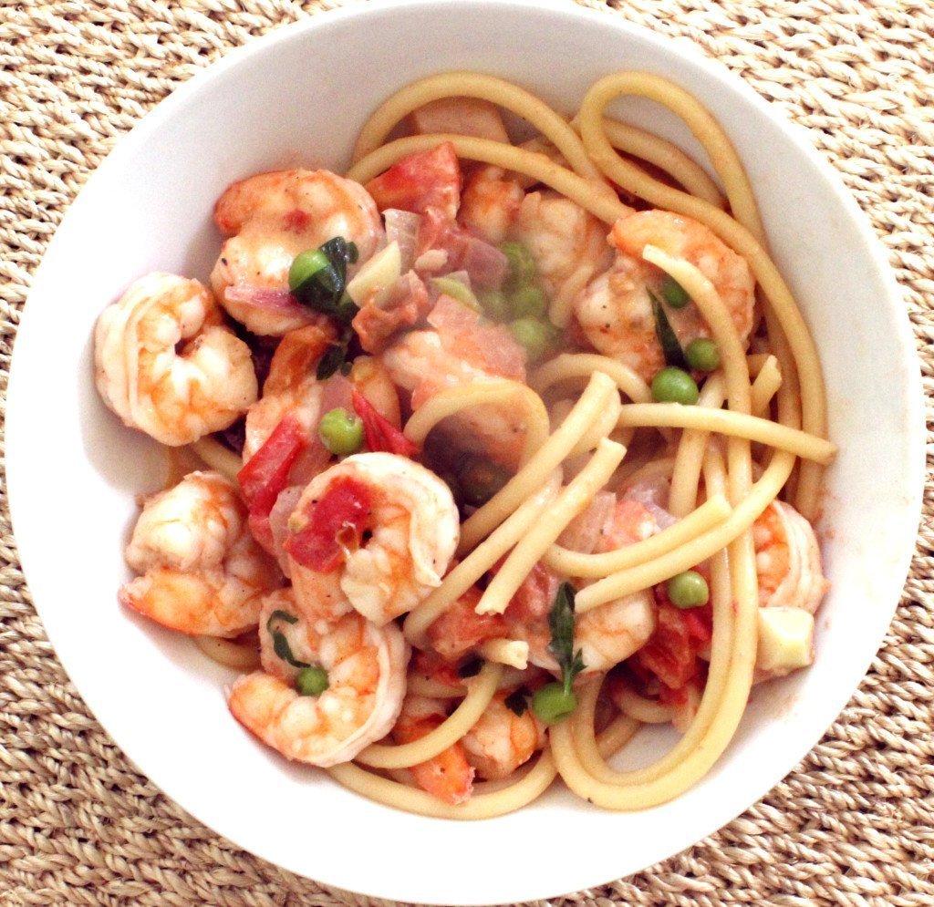 shrimp pasta plate