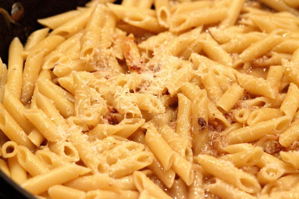 pasta and cheese in pan
