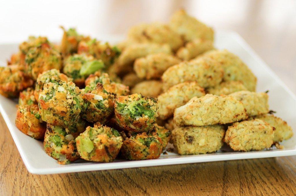 Broccoli Cheddar Bites and Cauliflower Parmesan Tots