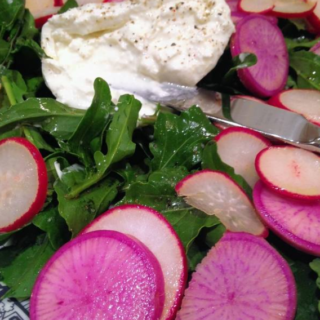 Burrata with Radishes and arugula