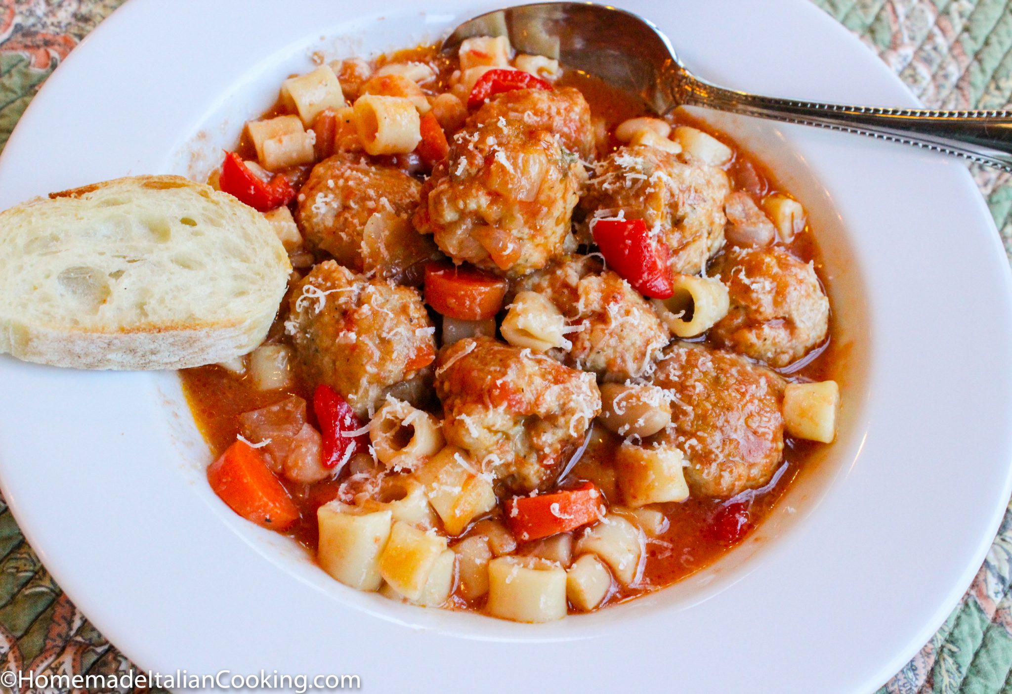Best Italian Meatball Soup with Ditalini and White Beans • Homemade ...