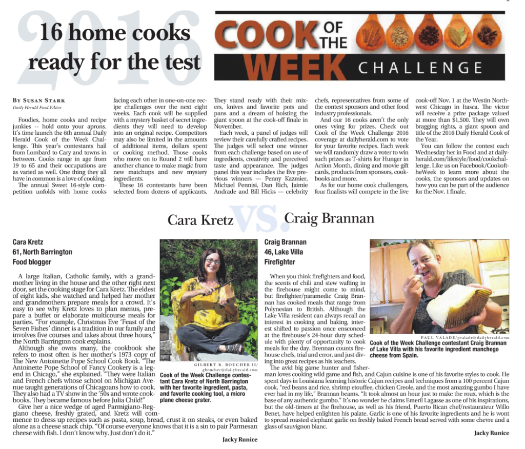 Daily Herald Cook of the Week Challenge 2016
