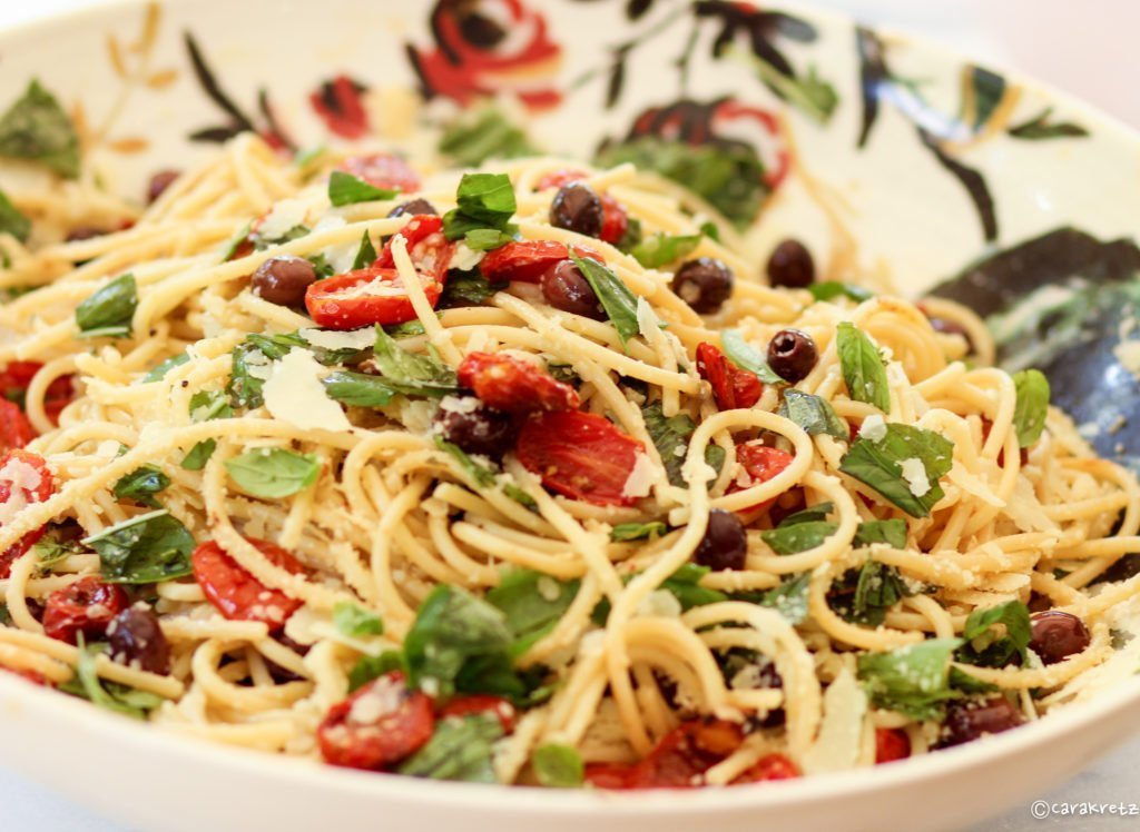 Spaghetti with Roasted Cherry Tomatoes, Olives & Basil