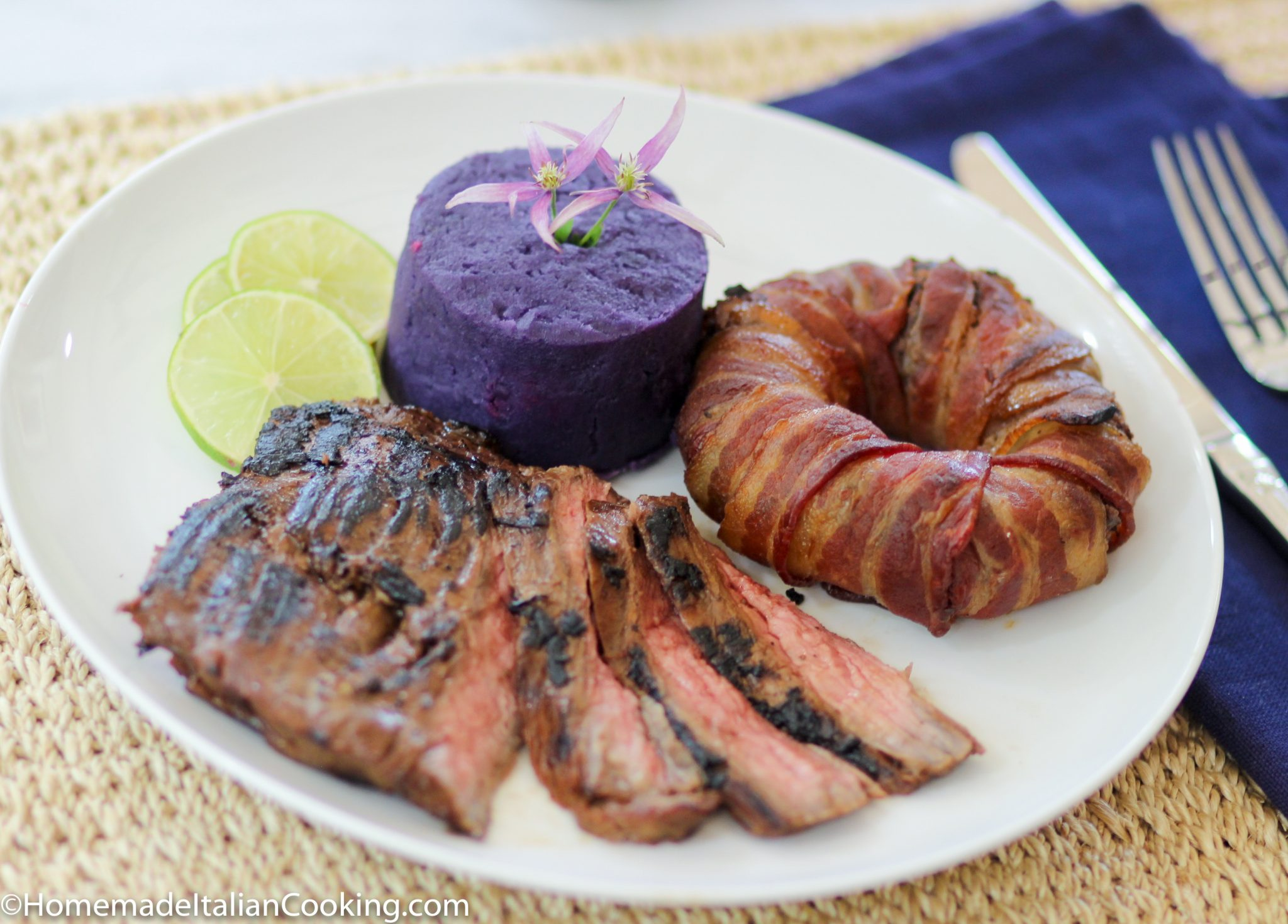 Submitted plate steak yams beans vanilla