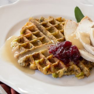 Thanksgiving Leftovers:  Stuffing Waffles with Turkey & Gravy