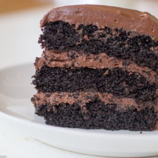 Slice of Three layer Chocolate Cake