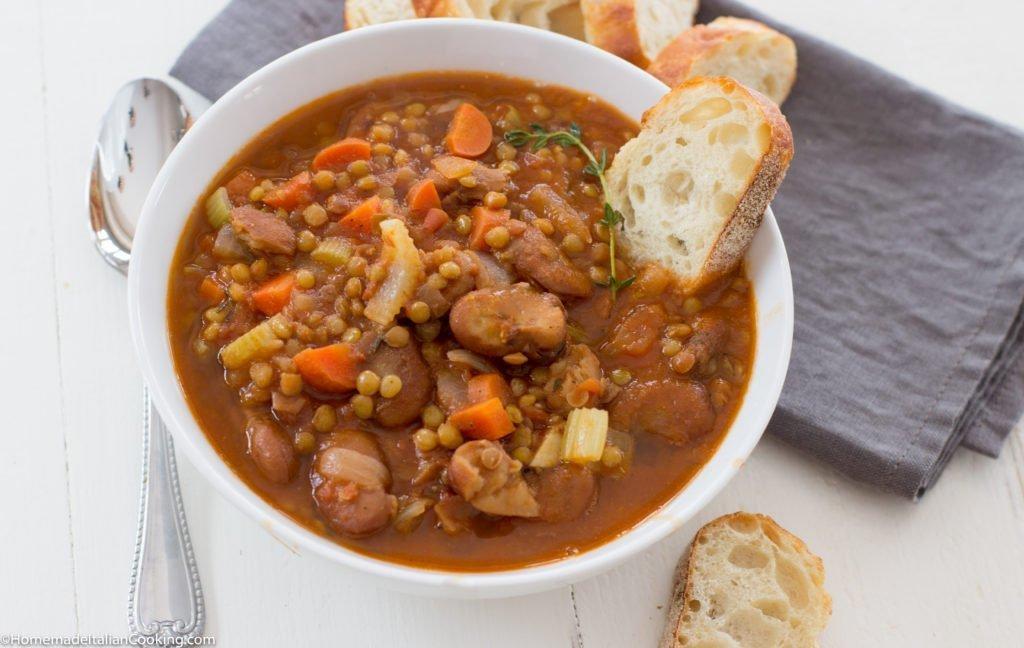Fava Beans and lentil soup