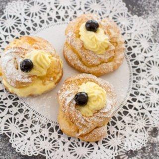 Baked Zeppoles with Homemade Vanilla Custard for St. Joseph's Day
