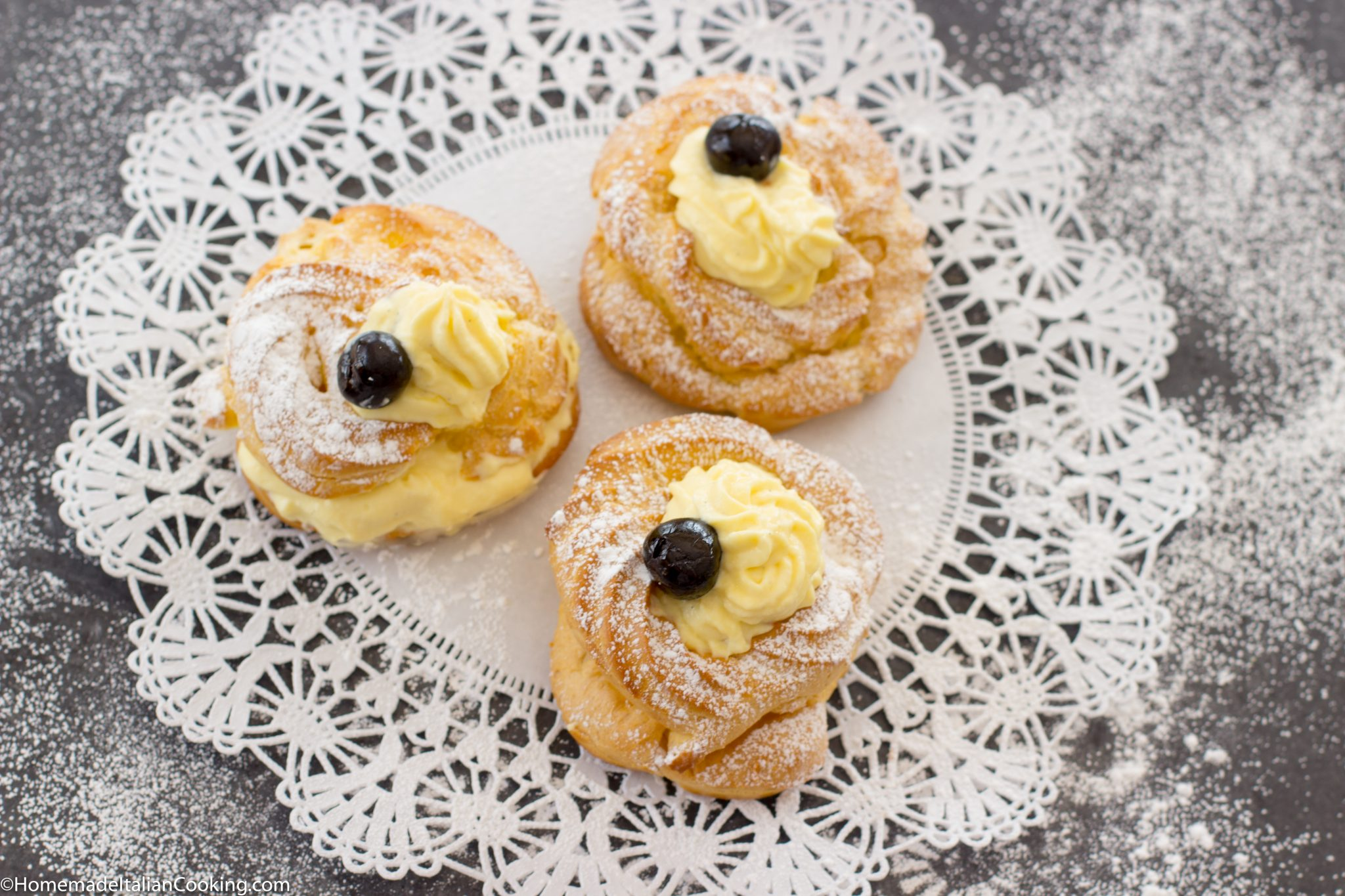 Baked Zeppoles With Homemade Vanilla Custard For St Joseph S Day Homemade Italian Cooking