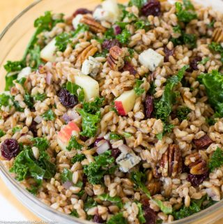 Autumn Farro Salad with Tart Cherries, Kale, Pecans, and Honeycrisp Apples