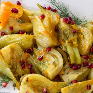 Braised Fennel in Orange Sauce with Pomegranate Seeds
