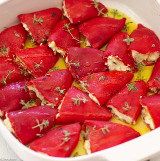 Pequillo Peppers Stuffed with Goat Cheese