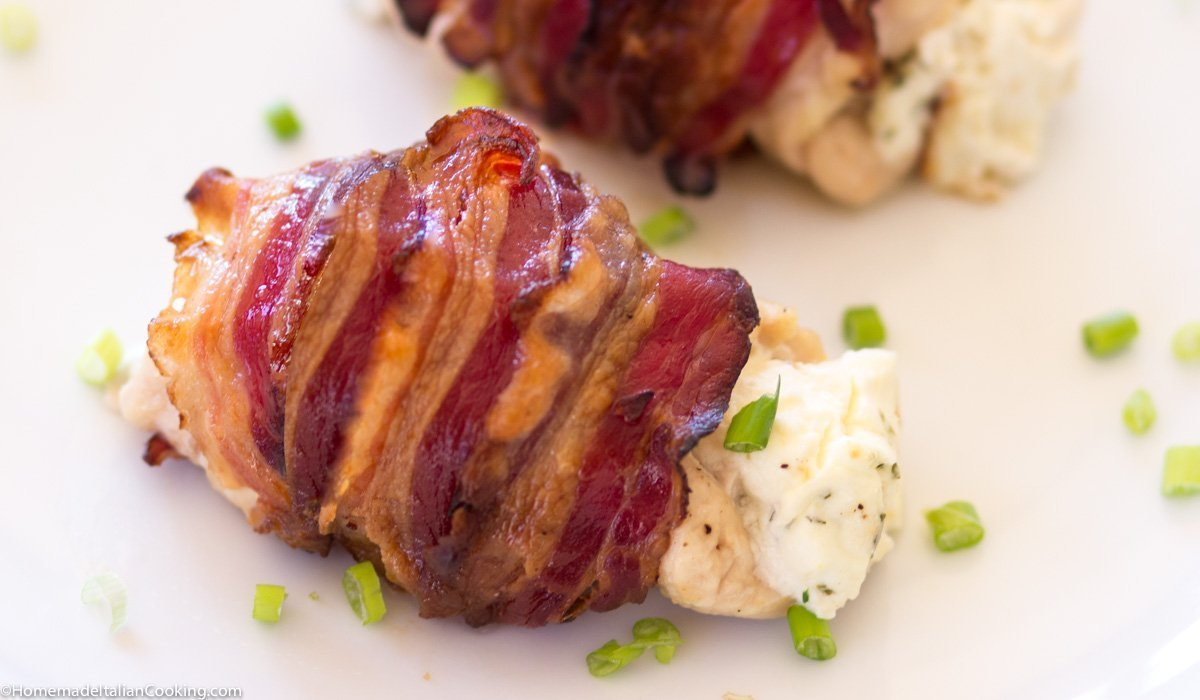 Chicken Stuffed with Cream Cheese and Chives Wrapped in Bacon