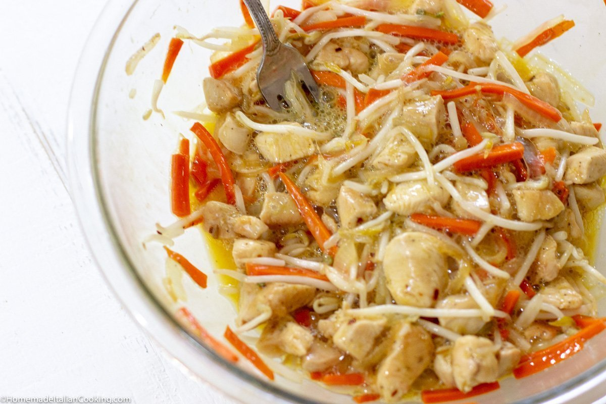 chicken, vegetable and egg mixture