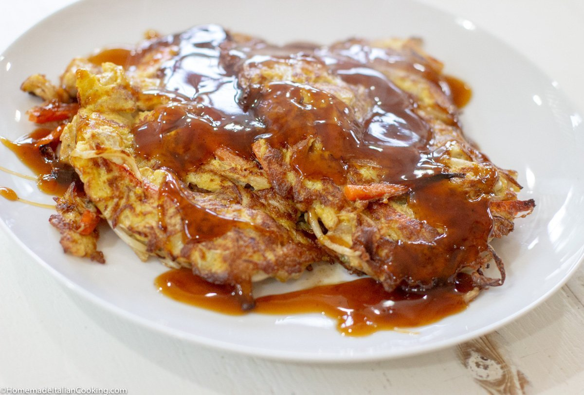 Plated Chicken Egg Foo Young