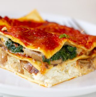 Caramelized Onion Mushroom Spinach Lasagna