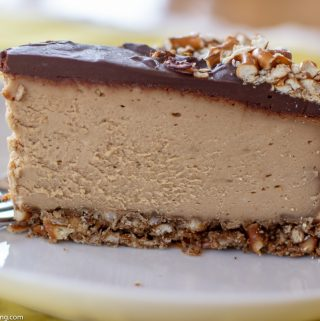 Double Peanut Butter & Chocolate Cheesecake with Pretzel Crust
