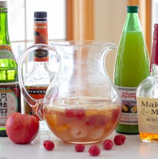 Asian Cocktail with Lychees, Apples & Raspberries
